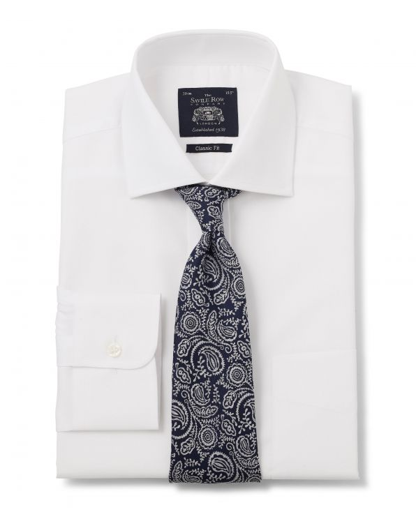 White Herringbone Classic Fit Shirt - Single Cuff With Tie - 1280WHT - Large Image