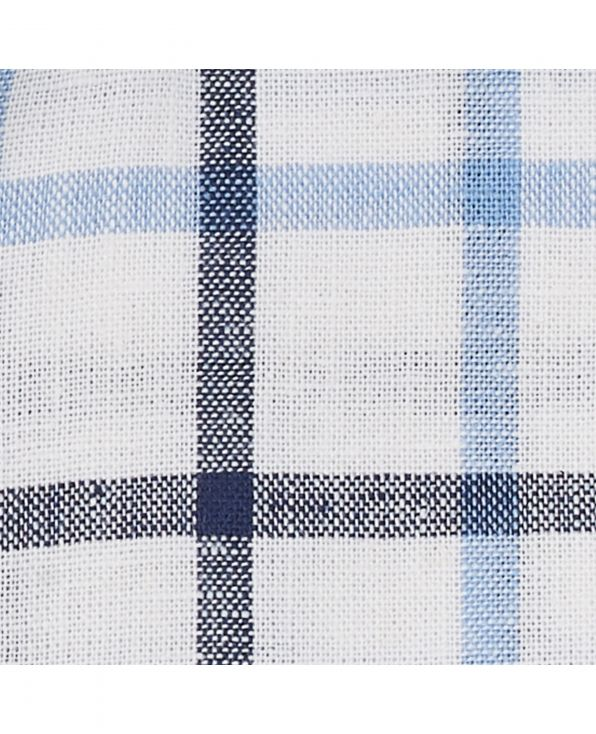 White Navy Blue Check Linen-Blend Classic Fit Short Sleeve Shirt - 1306WBNMSS - Large Image