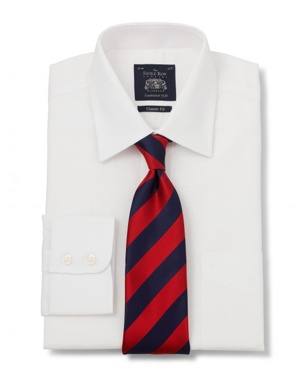 White Oxford Classic Fit Shirt - Single Cuff With Tie - 3003WHT - Large Image
