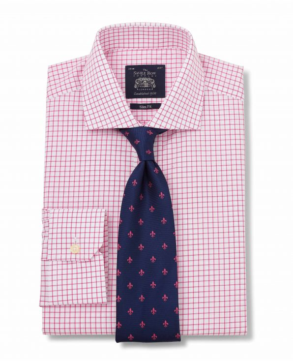 White Pink Poplin Check Slim Fit Sit - Single mitred Cuff - 1290BRP - Large Image
