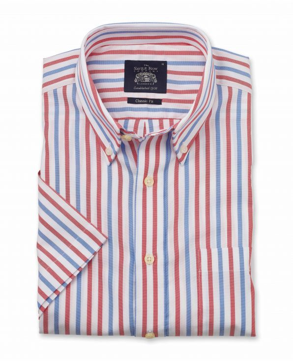 White Red Blue Stripe Pinpoint Classic Fit Short Sleeve Shirt - 1305WBRMSS - Small Image 280x344px