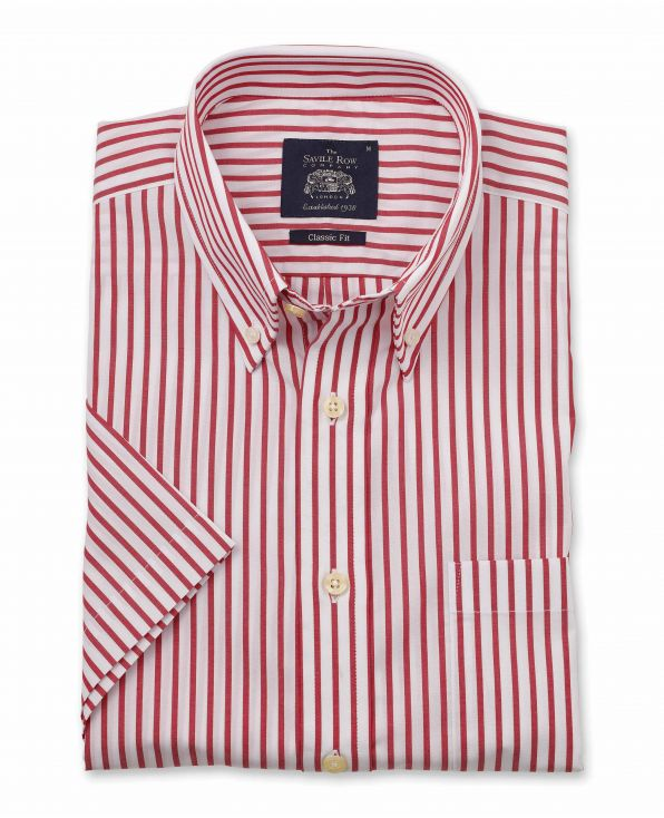 White Red Stripe Classic Fit Short Sleeve Button-Down Casual Shirt - 1303WHRMSS - Large Image