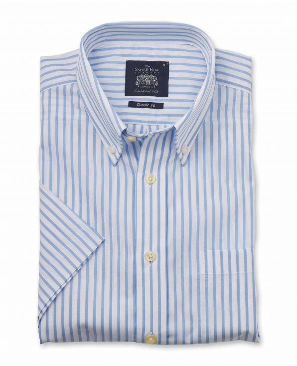 White Sky Blue Stripe Classic Fit Short Sleeve Button-Down Casual Shirt - 1303WHBMSS - Large Image