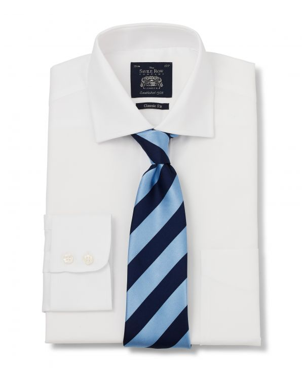 White Twill Classic Fit Cutaway Collar Shirt - Single Cuff With Tie - 3002WHT - Large Image