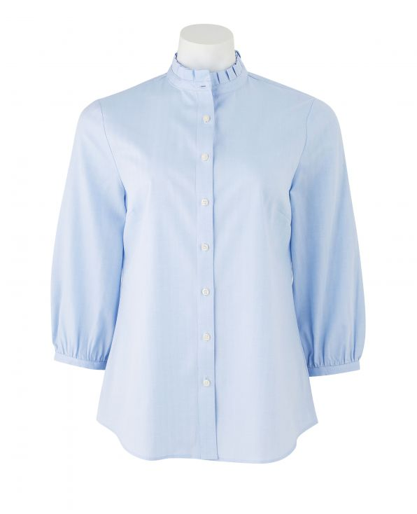 Women's Blue Herringbone 3/4 Sleeve Shirt With Frilled Collar - LSC407HBN - Large Image