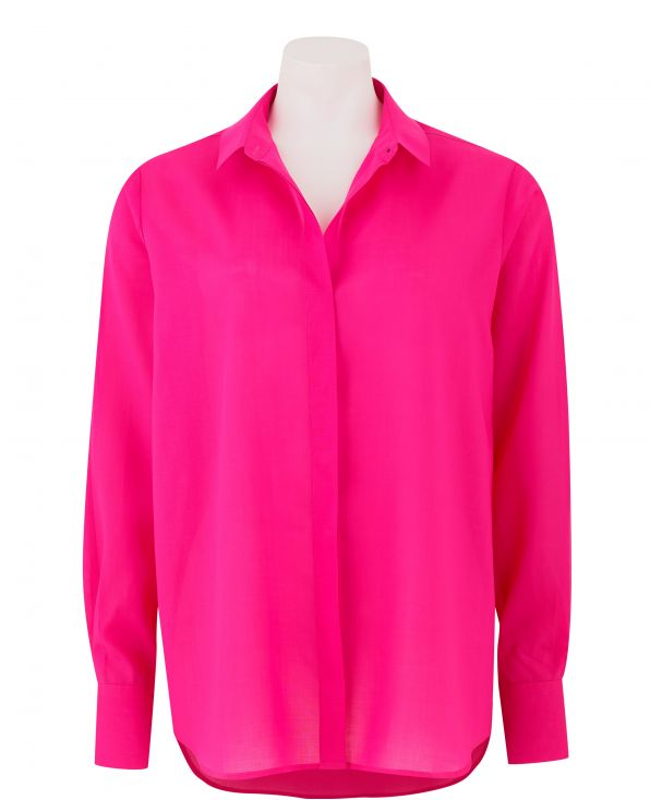 Women's Pink Loose Fit Fly Front Shirt - LSC353PNK - Large Image