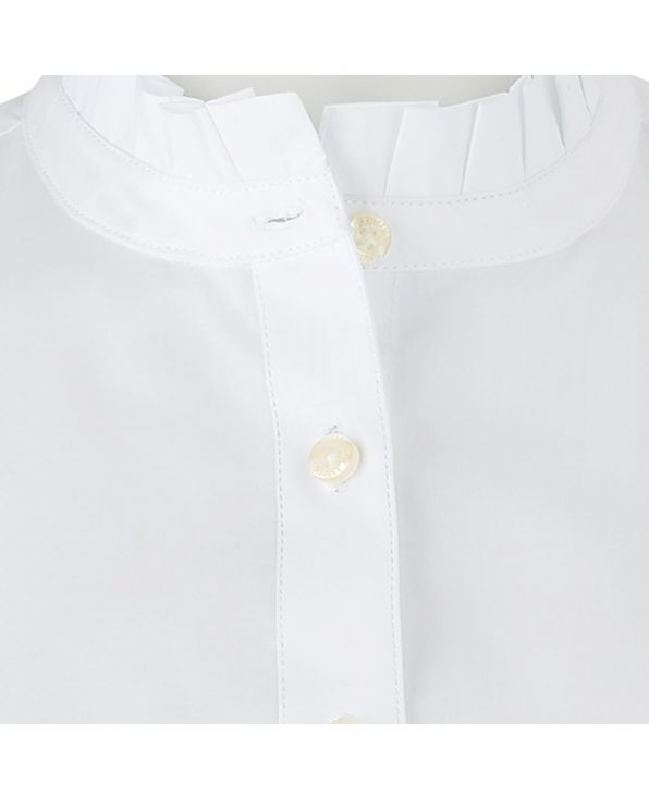 Women's White 3/4 Sleeve Shirt With Frilled Collar - LSC407WHT - Large Image