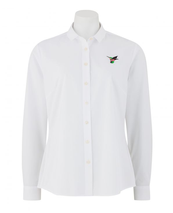 Women's White Hummingbird Embroidered Semi-Fitted Shirt - LSC350WBD - Small Image 280x344px