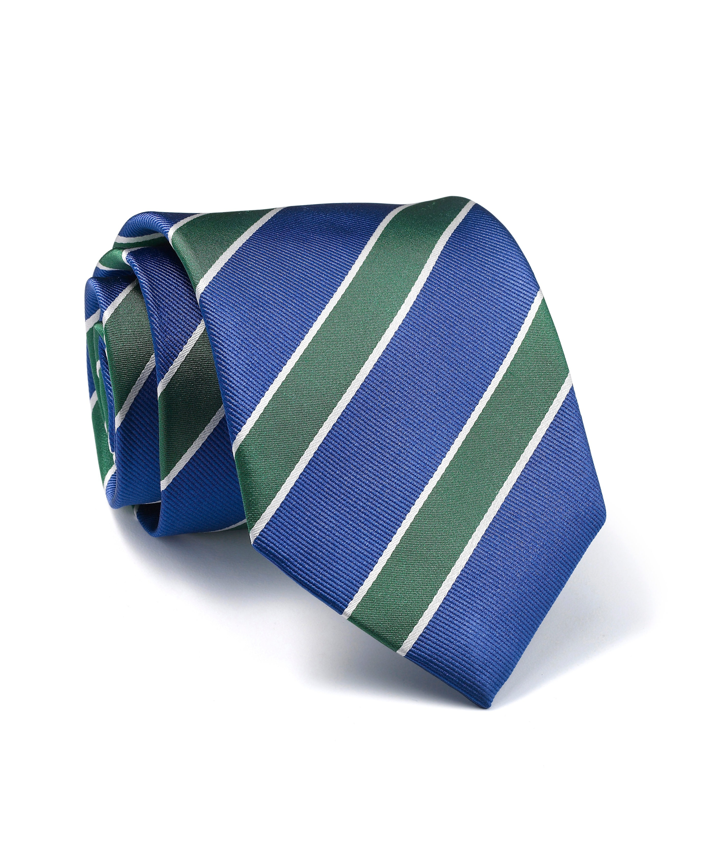 972c6bf2bed05b Navy White Green Stripe Silk Tie - Accessories | Savile Row Company