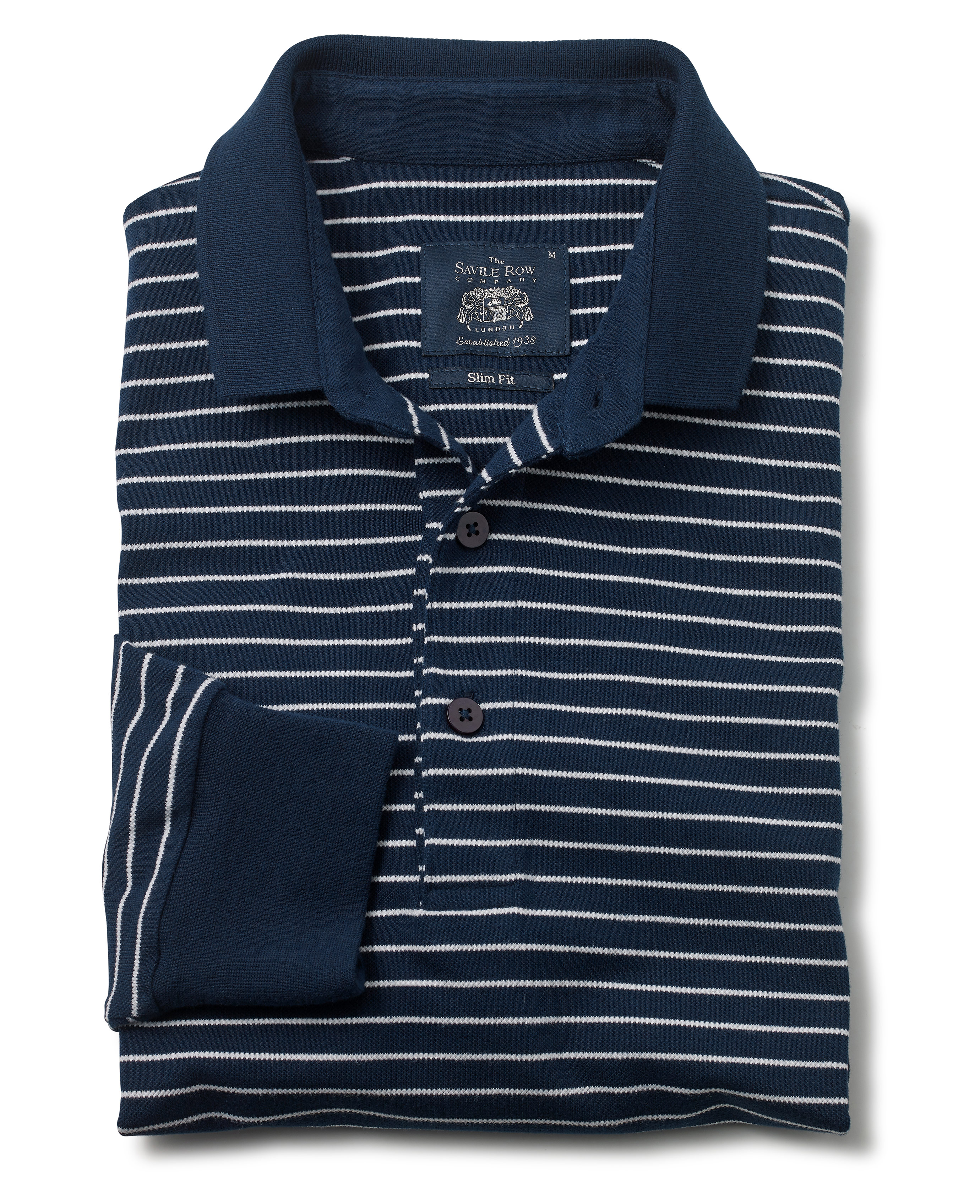 27d78b06 Men's navy and white stripe slim-fit long sleeve polo shirt | Savile Row  Company