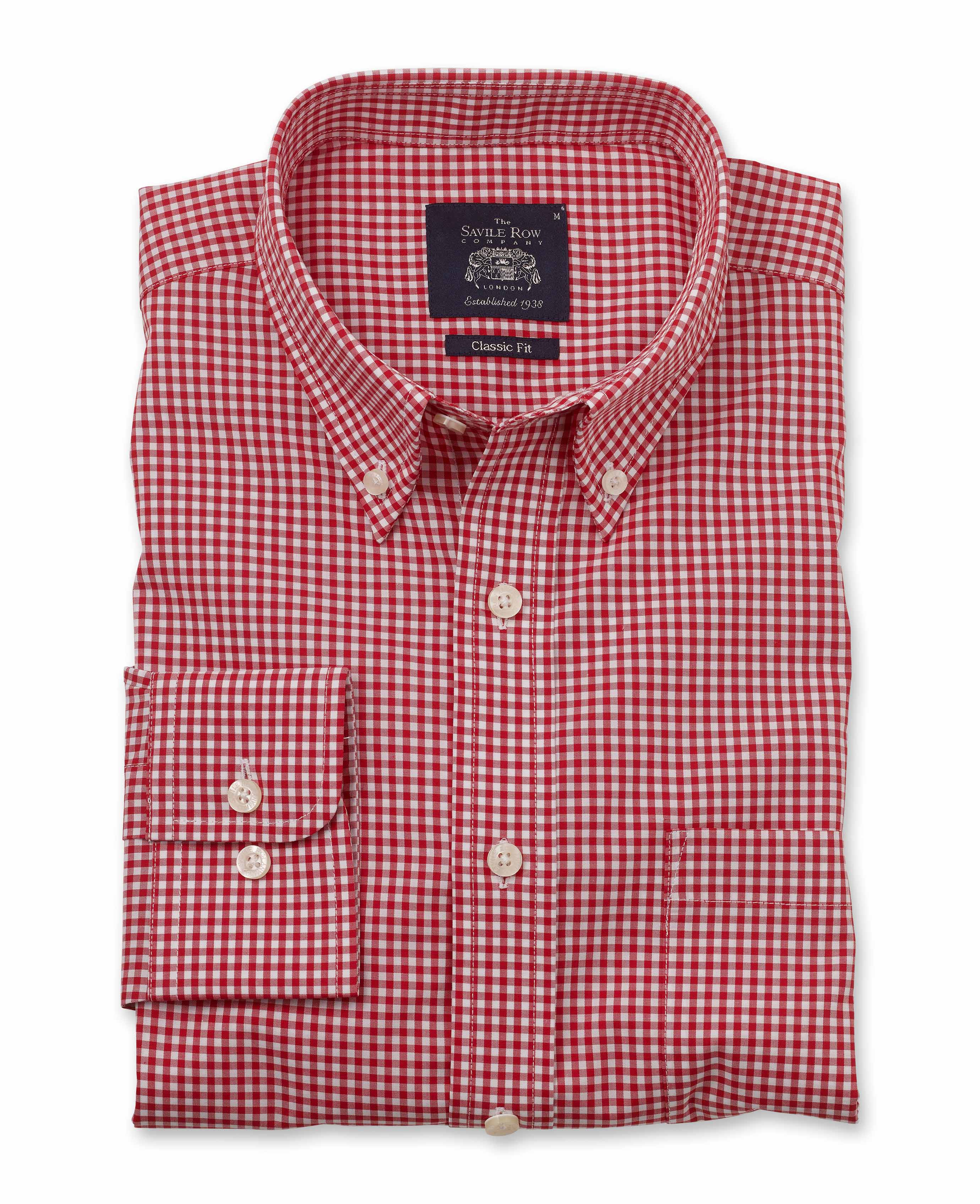 Red White Gingham Clic Fit On Down Shirt
